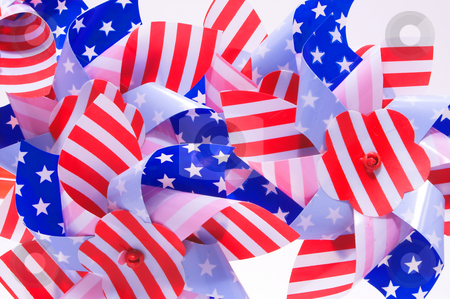 Patriotic Pinwheel stock photo, A group of patriotic pinwheels for the 4th of July. by Robert Byron