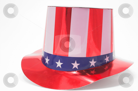 Patriotic Hat stock photo, A stars and stripes patriotic top hat. by Robert Byron