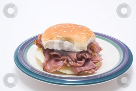Roast Beef Sandwich stock photo, A delicious roast beef sandwich on a sesame seed bun. by Robert Byron
