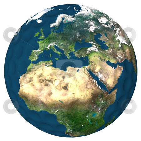 World of Golf Africa stock photo, Golf ball with a high resolution earth texture applied. Europe and Northeran Africa showing. by Dave Navarro