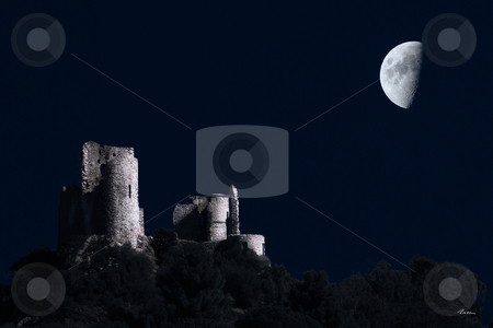 Castle stock photo, Ruins of a middle Age Castle under the light of the moon by Serge VILLA