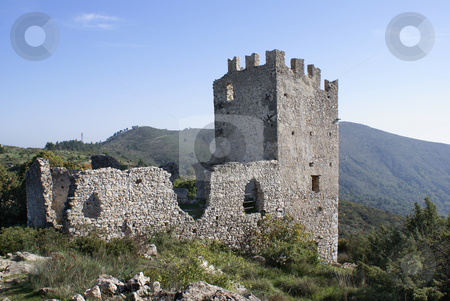 Old Castle stock photo, Old castle dating from the middle age (Villevielle - Provence - French Riviera by Serge VILLA