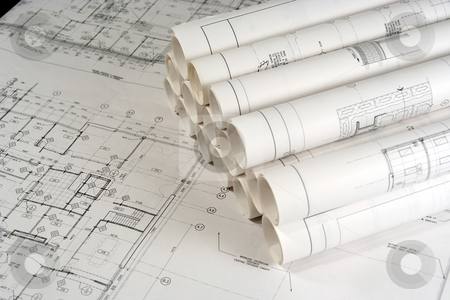 Engineering and Architecture Drawings 2 stock photo, Engineering and architecture drawings laid on a table by Claude Beaubien