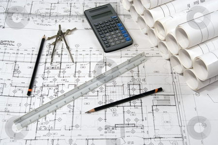 Engineering and Architecture Drawings stock photo, Engineering and architecture drawings with calculator by Claude Beaubien
