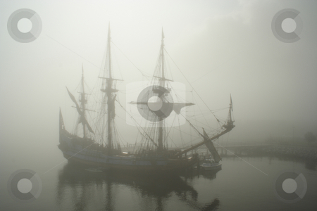 Old Pirate sail ship in the fog stock photo, Old sail ship Pirate in the fog early morning by Claude Beaubien