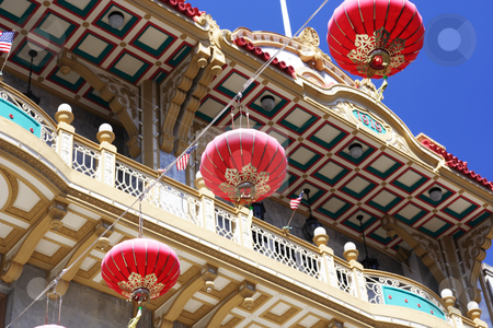 Chinese Lantern in Chinatown stock photo, Chinese decorations in Chinatown, San Francisco by Claude Beaubien