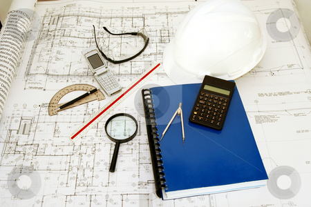 Engineering (Architecture) Drawings stock photo, Engineering (Architecture) Drawings with hat, calculator and accessories by Claude Beaubien
