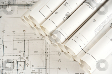 Engineering and Architecture Drawings  stock photo, Engineering and architecture drawings laid on a table by Claude Beaubien