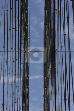 Cables of the Suspended Brooklyn Bridge stock photo, Cables of the suspended Brooklyn Bridge in Manhattan, New York City by Claude Beaubien