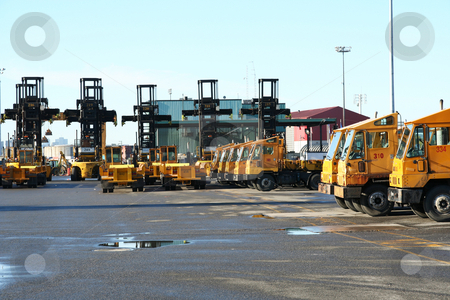 Container Terminal Equipment stock photo, Container handling equipment in an intermodal yard by Claude Beaubien
