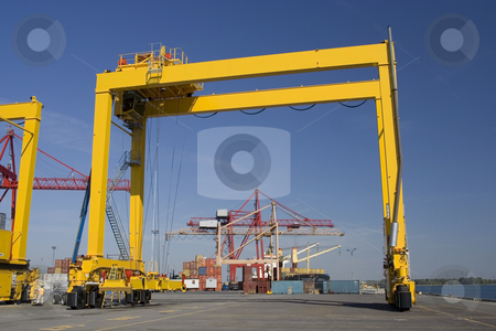 Series of container cranes stock photo, Containers and container cranes in a major port by Claude Beaubien