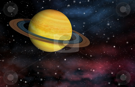 Ringed Planet stock photo, Bright yellow gas giant with rings.  Computer generated. by Dave Navarro