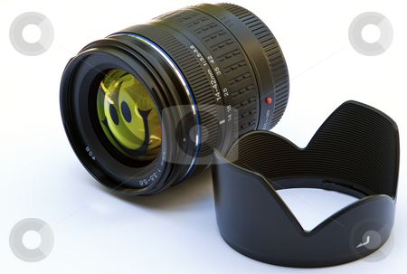 Funny lens stock photo, Camera lens isolated on white with funny symbol. by Sinisa Botas