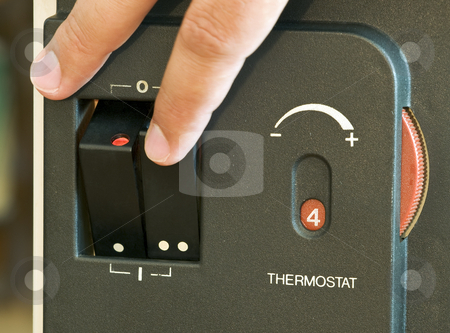 Thermostat stock photo, Metaphor about saving energy. by Sinisa Botas