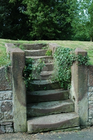 Roman steps stock photo, Roman steps in Eccleston, Cheshire England. May have lead to an old house which has beed demolished or merely lead to a footpath by Ray Roscoe