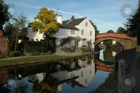 English cottage by Canal stock photo, Scenes of Bridgewater canal system in Cheshire, UK by Ray Roscoe