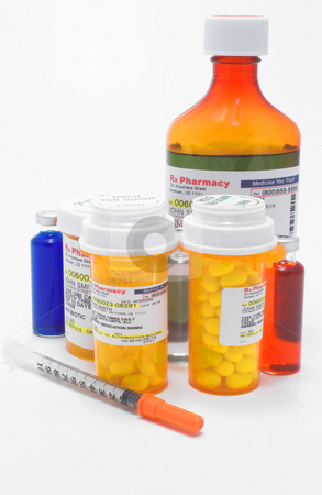 Prescription Medication stock photo, A variety of prescription medications with mock labels. by Robert Byron