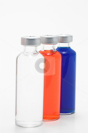 Prescription Medicine Vials  stock photo, Red, white and blue prescription medicine vials. by Robert Byron