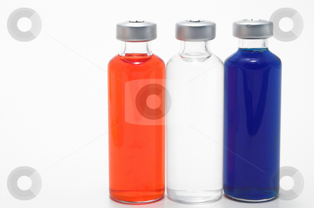 Prescription Medicine Vials  stock photo, Red, white and blue prescription medicine vials. by Robert Byron