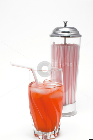 Cherry Soda stock photo, A glass of carbonated cherry soda with a drinking straw. by Robert Byron