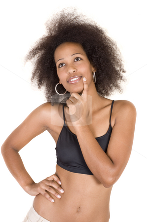 Sexy young African beauty stock photo, Beautiful young African adult girl with smooth chocolate brown skin, wearing a small tight black top, daydreaming and looking sexy. by Nicolaas Traut