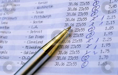 Betting slip stock photo, Close up of betting slip. by Sinisa Botas