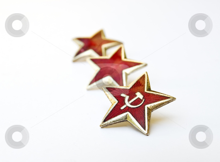Stars of communism stock photo, Red communist stars on white background. by Sinisa Botas