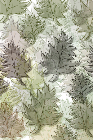 Pattern with leaves stock photo, Leaves in pastelcolours on white background by Wino Evertz