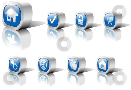 Web Buttons Blue Set in Metal with Reflection  stock vector clipart, A set of blue web button icons in shiny metal settings, including reflections and shadows. On white. by Michael Brown