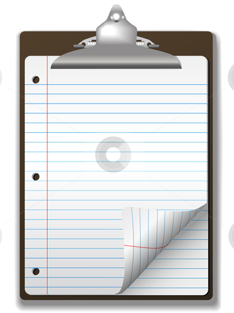 Clipboard School Ruled Notebook Paper Corner Page Curl stock vector clipart, Pages of blue lined school ruled notebook paper - page curl flip and drop shadows - on a clipboard. by Michael Brown