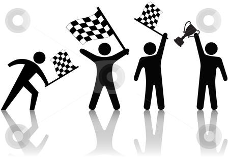 Symbol People Win Victory in Race Competition stock vector clipart, Symbol people win the victory trophy in a race or any competition: checkered flag by Michael Brown