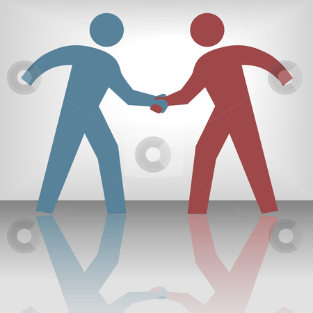 Two bodies shaking hands stock vector clipart,  by Michael Brown