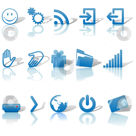 Web Blue Icons Set Shadows  stock vector clipart, Blue Icon Symbol Set 2: Printer; Gears; Chart; Earth; People; RSS; etc. On white with shadows by Michael Brown