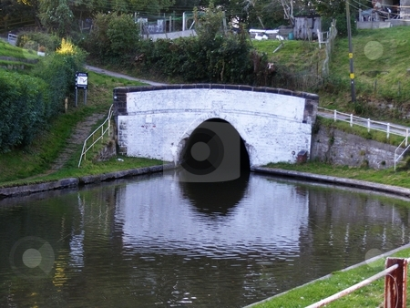 Canal Tunnel stock photo, Tunnel entrance on the Bridgewater canal at Barnton, Northwich, Cheshire England. In the past century, the canals were used considerably throughout England in order to ferry needed supplies to homes, shops and industry by Ray Roscoe