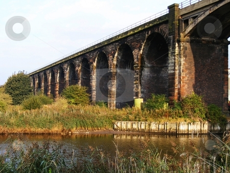 Railway Arches stock photo, Railway arches crossing the River Weaver at Frodsham Cheshire, built about 100 years ago by Ray Roscoe