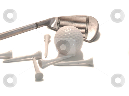 Golf Iron with Ball and Tees stock photo, Close up shot of golf iron ball and tees against white background by Corinna Walby