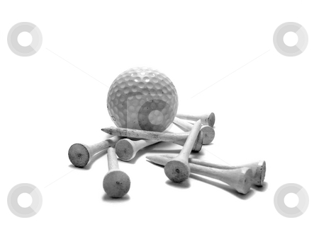 Golf ball and tees stock photo, Golf ball and white tees by Corinna Walby