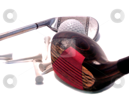 Golf items stock photo, Drivers, irons, tees and golf balls by Corinna Walby