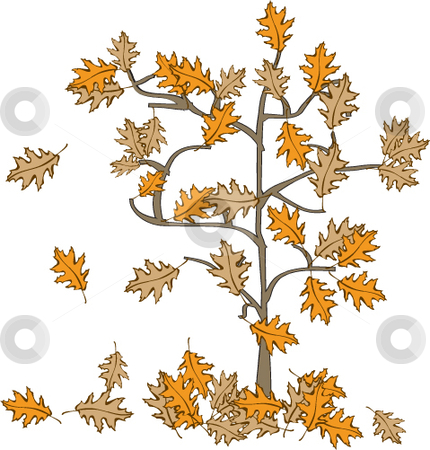 Fall or Autumn tree stock vector clipart, Vector illustration of Fall or Autumn leaves falling off the tree by Michelle Bergkamp