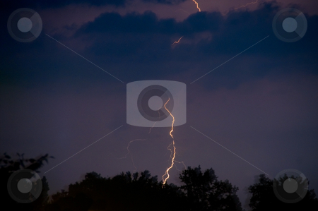 Lightening stock photo, A lightening strike at night during a thunderstorm. by Robert Byron