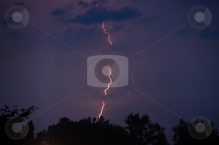 Lightning stock photo, A lightening strike at night during a thunderstorm. by Robert Byron