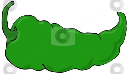 Green Pepper stock photo, This illustration depicts a green chili pepper. by Dennis Cox