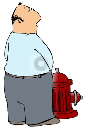 Man Peeing On A Fire Hydrant stock photo, This illustration depicts a man peeing on a fire hydrant. by Dennis Cox