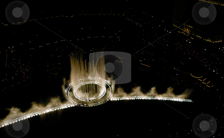High above the fountains stock photo, Overhead view from water fountains at night. by Rob Wright