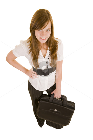Beautiful business lady stock photo, Beautiful business lady with a laptop, isolated on white. by Nicolaas Traut
