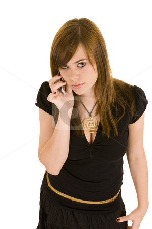 Beautiful young lady on the phone stock photo, Beautiful young business lady on talking on the phone, isolated on white background. by Nicolaas Traut