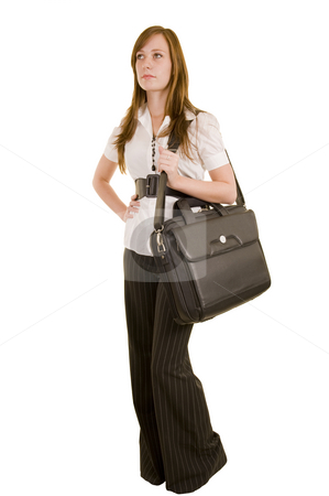 Beautiful young lady with laptop stock photo, Beautiful young lady carrying a laptop computer, isolated on white. by Nicolaas Traut