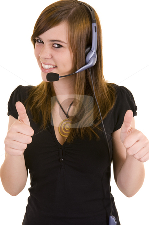 Beautiful young lady with headset stock photo, Beautiful young business lady wearing a headset for communications, isolated on a white background. by Nicolaas Traut