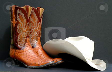 Cowboy Boots and Felt Hat stock photo, A pair of cowboy boots and a felt cowboy hat by Jeff Clow