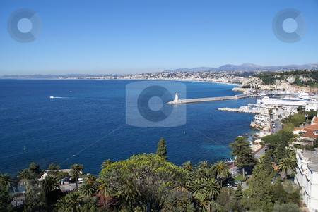 Bay des Anges stock photo, View of the bay